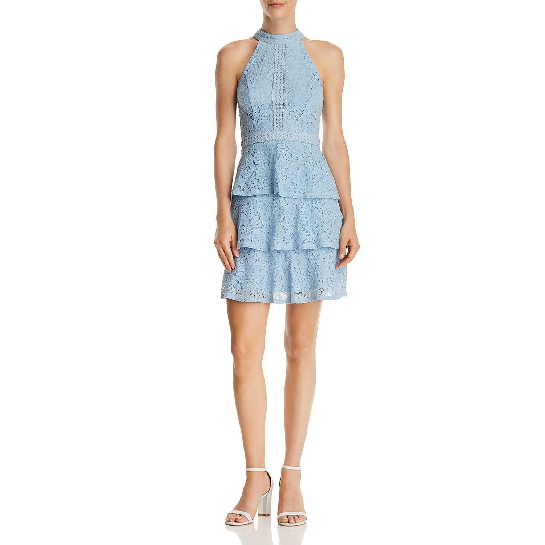 Fashion week Blue aqua lace dress for woman