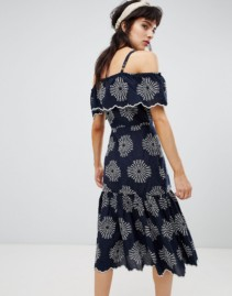 ASOS Cold Shoulder And Cutwork Detail With River Island Midi Navy Dress