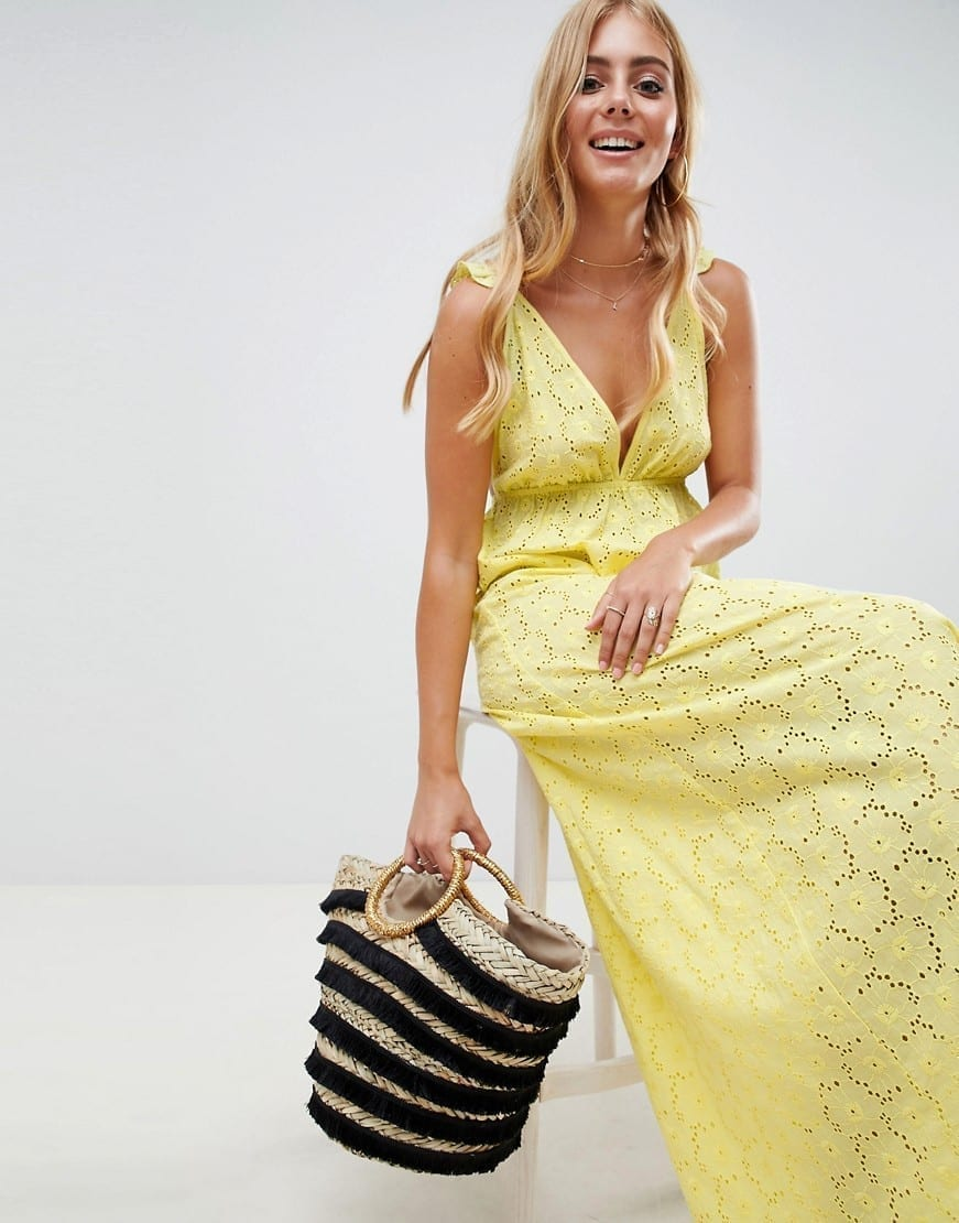 ASOS DESIGN Broderie Frill Plunge Maxi Beach Yellow Dress