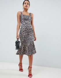 ASOS DESIGN Buckle With Pep Hem Pencil Leopard Printed Dress