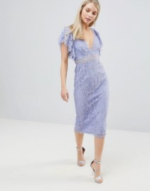 ASOS DESIGN Frill Sleeve With Lace Pencil Midi Dusty Blue Dress