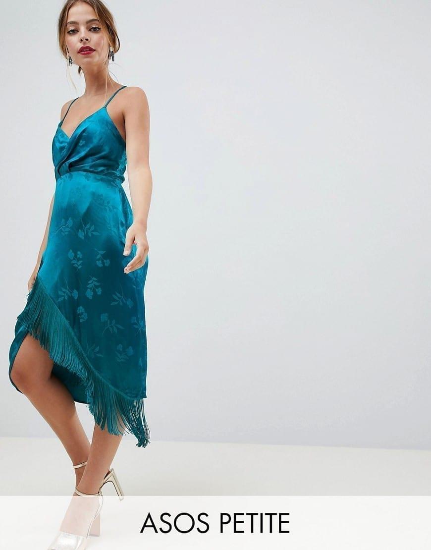 ASOS DESIGN Petite Lace Up Back Fringe Soft Jacquard Mini Peacock Green Dress