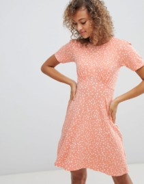 ASOS DESIGN Scatter Spot Ultimate Mini Tea Peach Dress