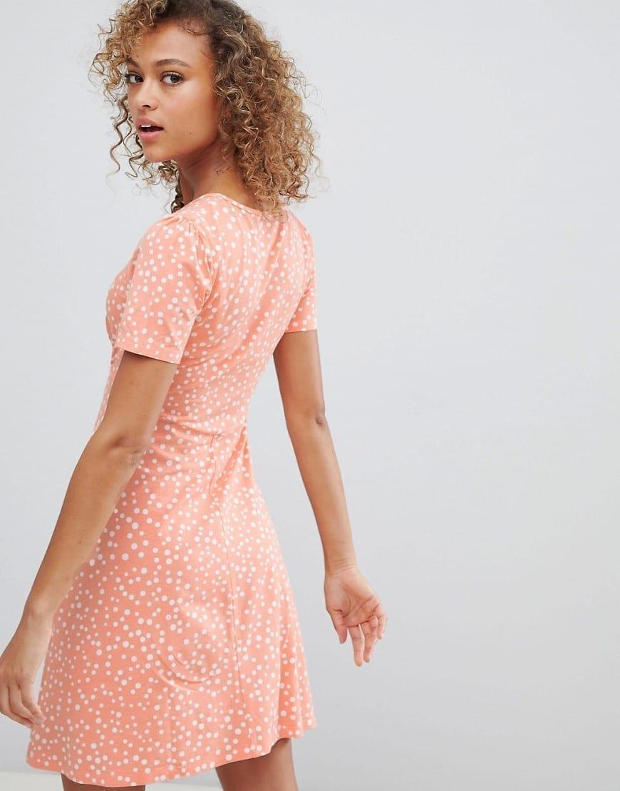 1ca9286600 Asos design scatter spot ultimate mini tea peach dress we select jpg  870x1110 Asos peach dress