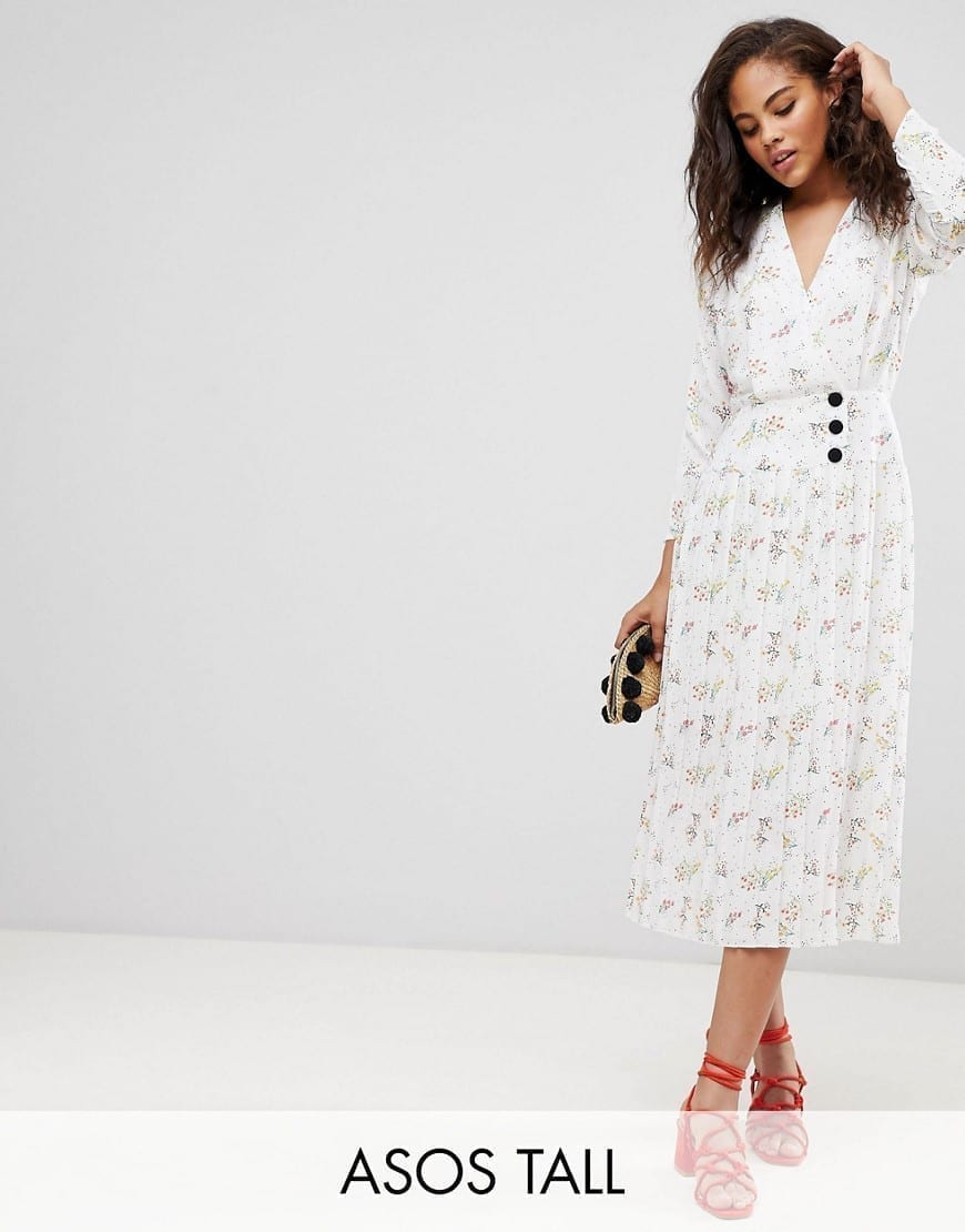 e81c4663242 ASOS DESIGN Side Buttons In Ditsy Floral With Tall Pleated Midi White   Floral  Printed Dress
