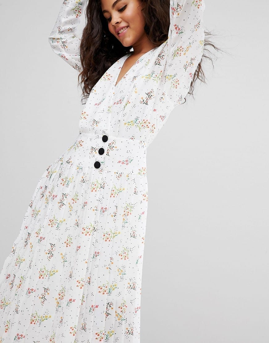 ASOS DESIGN Side Buttons In Ditsy Floral With Tall Pleated Midi White / Floral Printed Dress