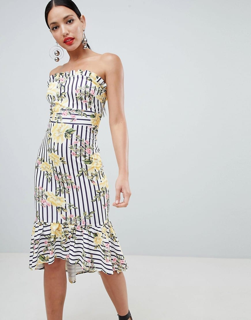 ASOS DESIGN Stripe Floral Scuba Bandeau Midi Multicolored Dress