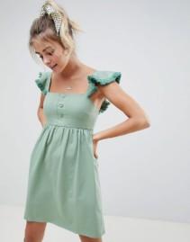 ASOS DESIGN Tassel Frill Sleeve With Mini Smock Sage Dress