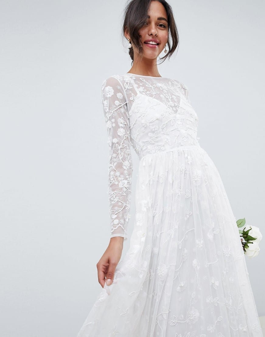 cec24a00c58 ASOS EDITION All Over Embellished And Embroidered Wedding White Dress