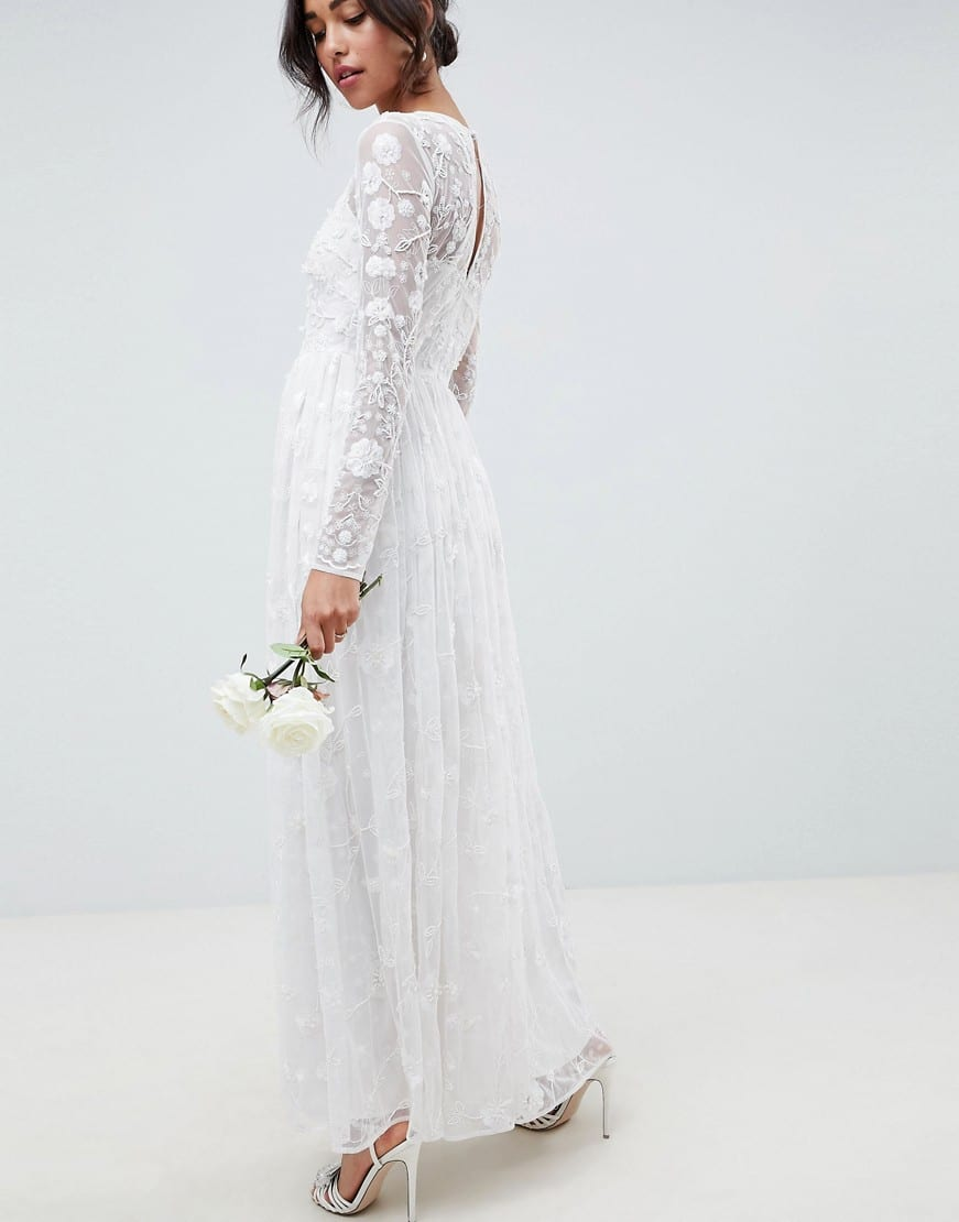 Asos Edition All Over Embellished And Embroidered Wedding White Dress