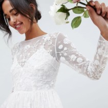 6642199d9b1 ASOS EDITION All Over Embellished And Embroidered Wedding White Dress