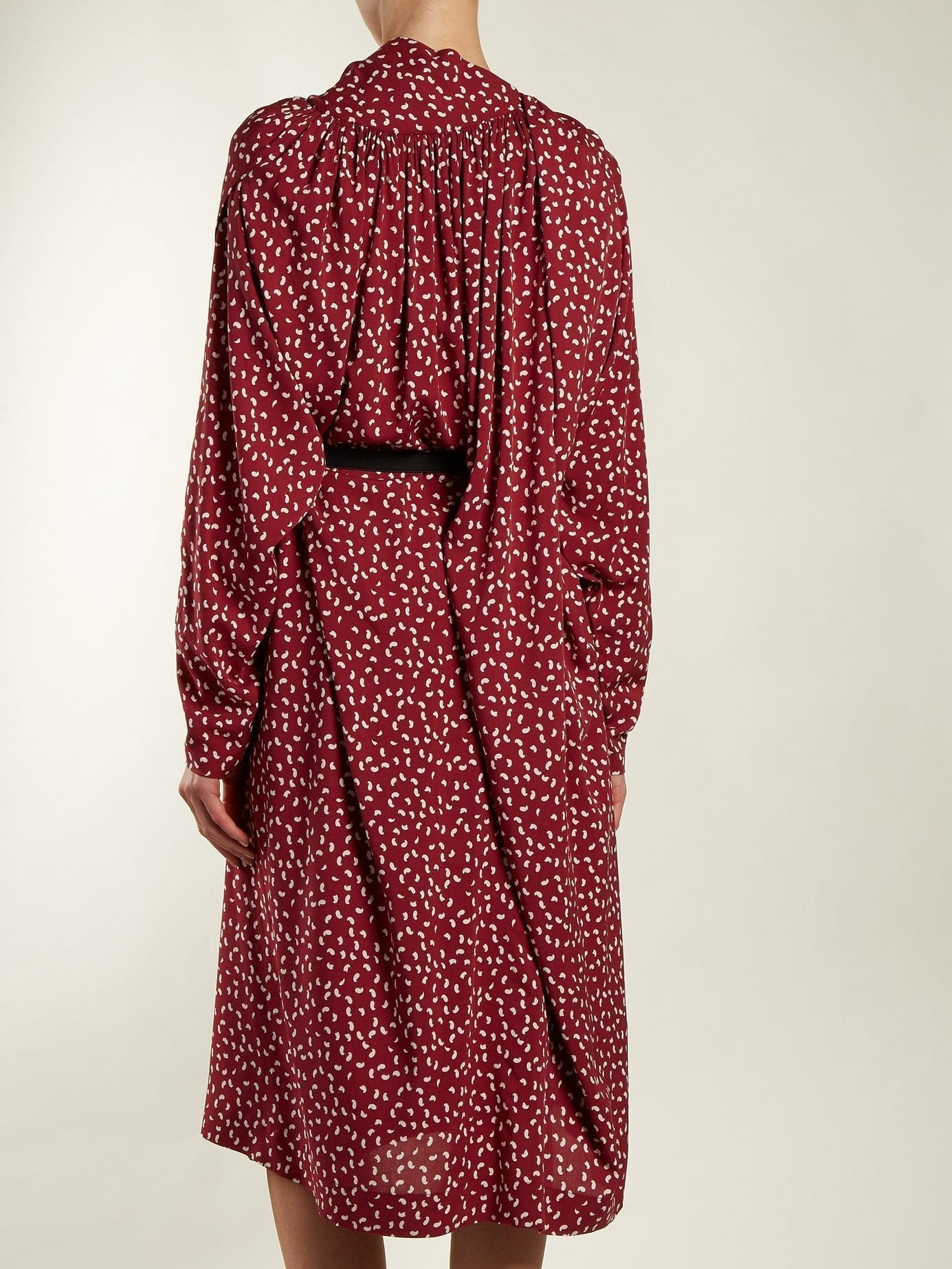 Balenciaga Paisley Print Midi Burgundy Dress We Select