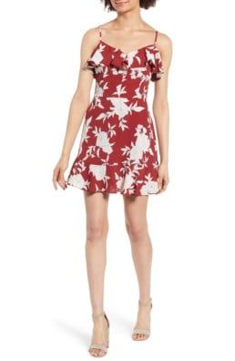 BAND OF GYPSIES Ruffle Red / Floral Printed Dress