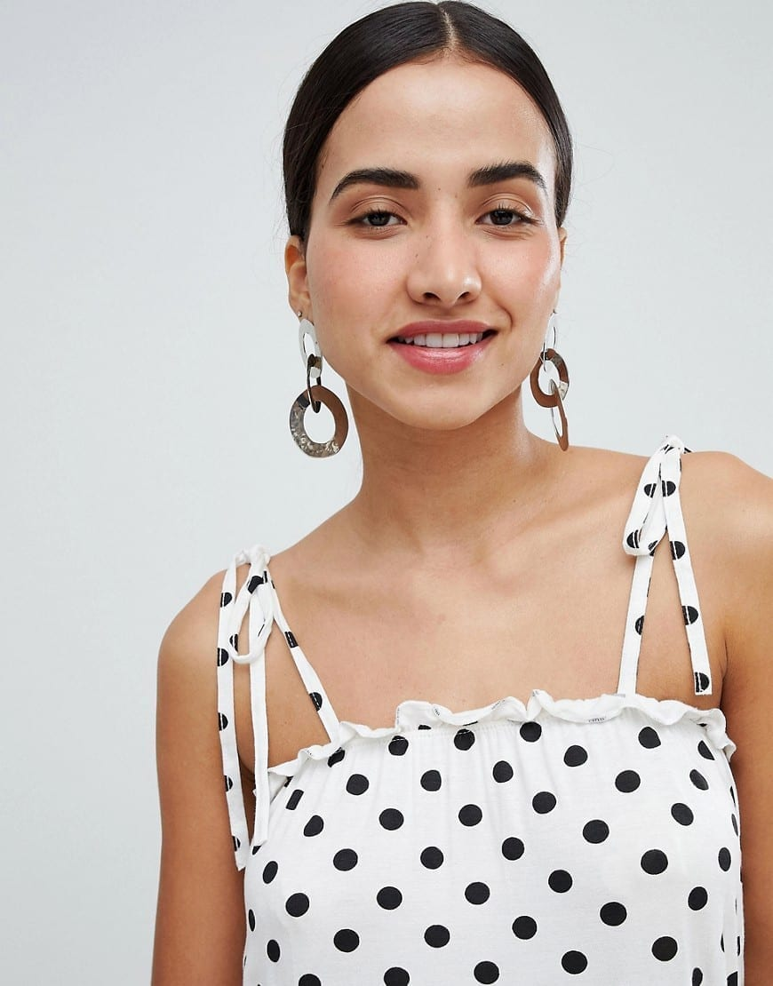 d89d31e66f8 BOOHOO Polka Dot With Tie Straps White Sundress - We Select Dresses