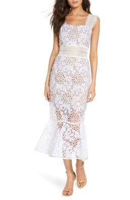 BRONX AND BANCO Floral Lace Midi White Dress