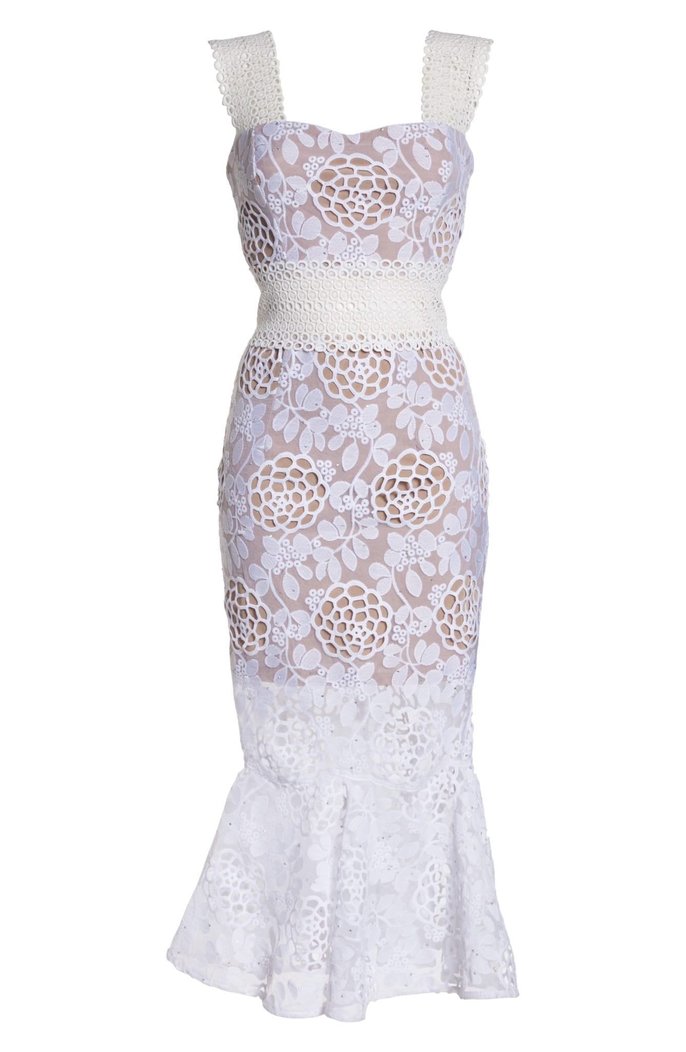 BRONX AND BANCO Floral Lace Midi White Dress - We Select