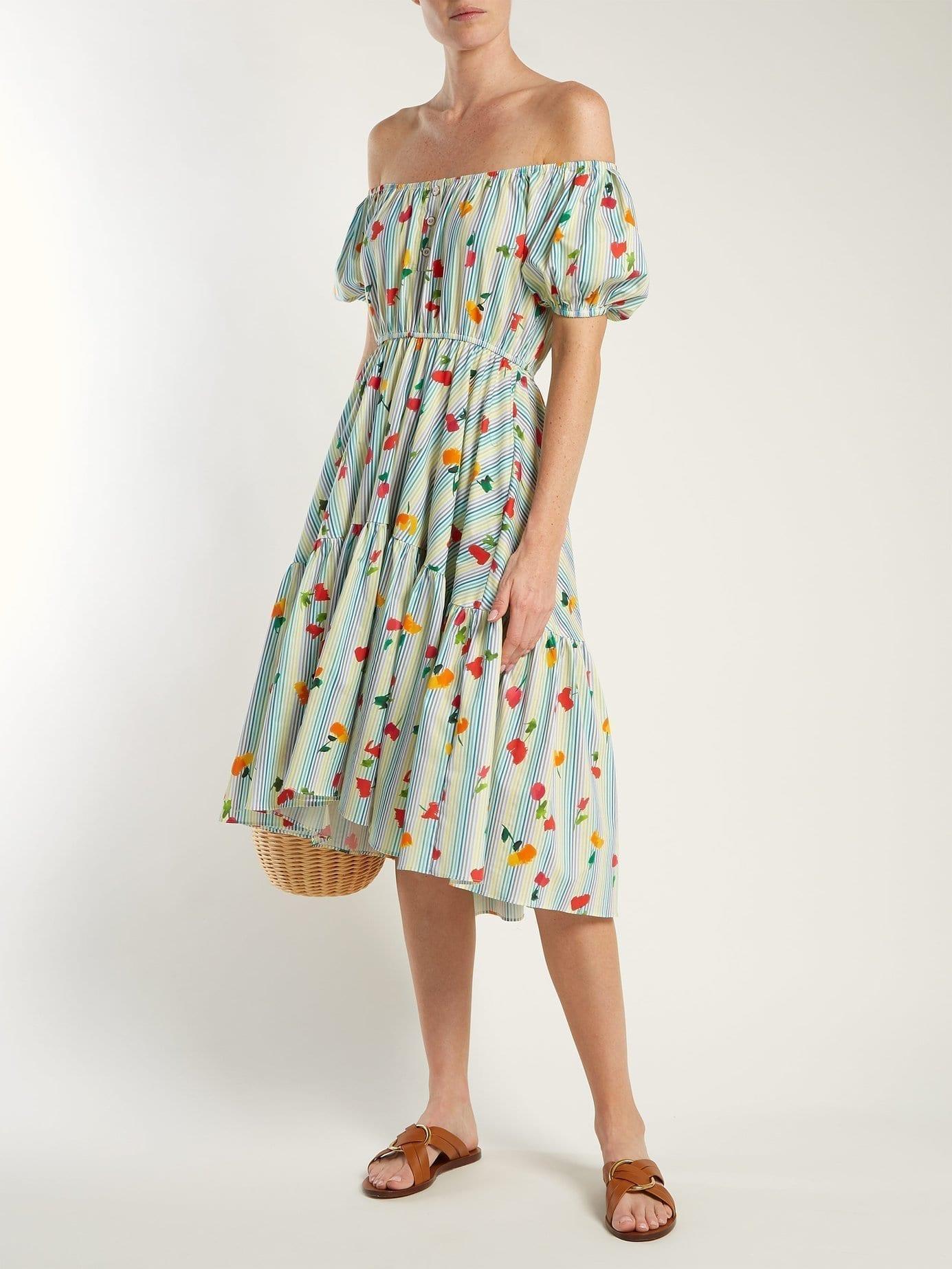 CAROLINE CONSTAS Striped Cotton-Blend Blue / Floral Printed Dress