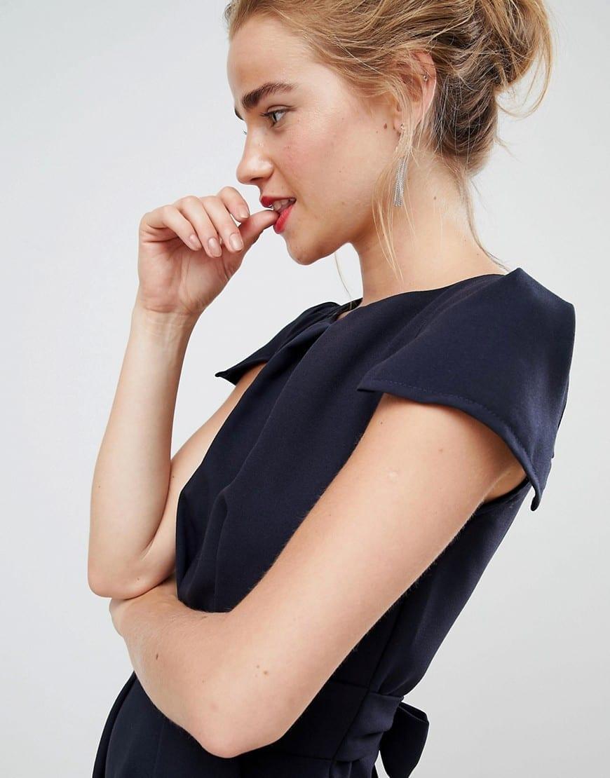 CLOSET London Tie Back Short Sleeve Navy Dress