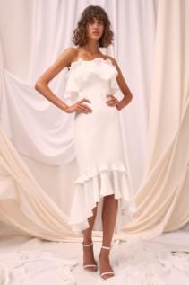 C/MEO COLLECTIVE Forgive Midi Ivory Dress