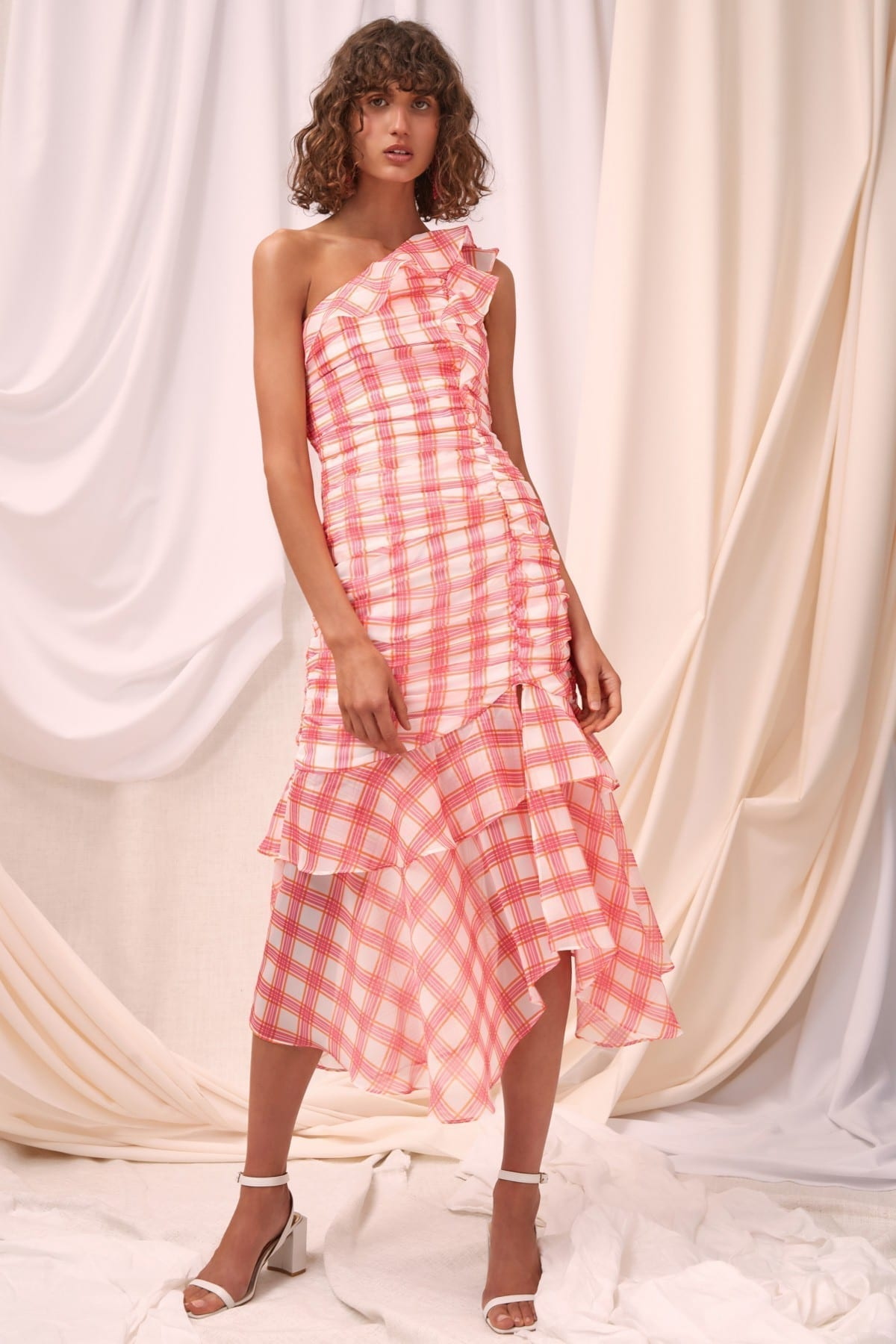 C/MEO COLLECTIVE Solace Midi Ivory Check Dress
