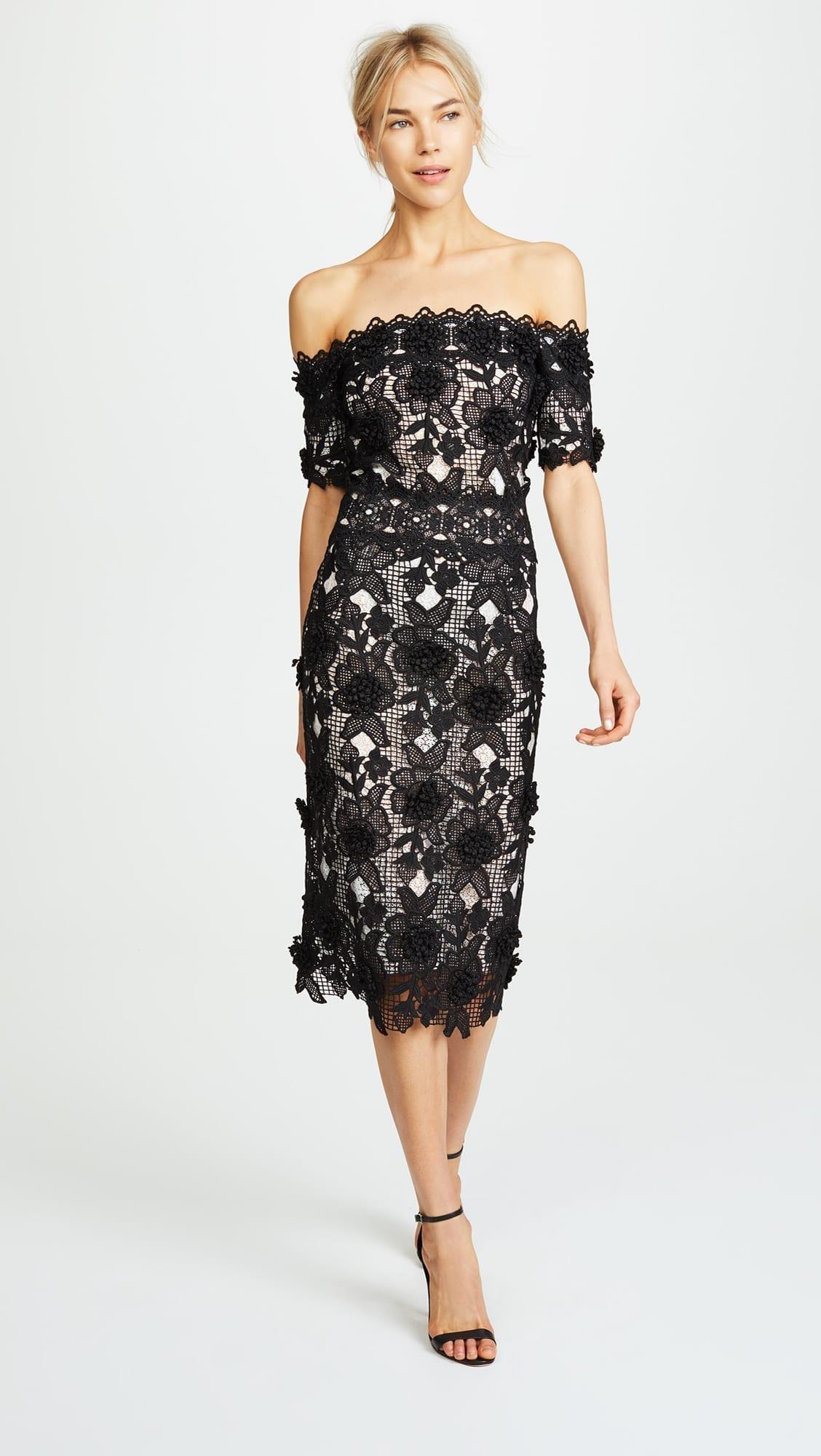 COSTARELLOS Off The Shoulder Black / White Dress