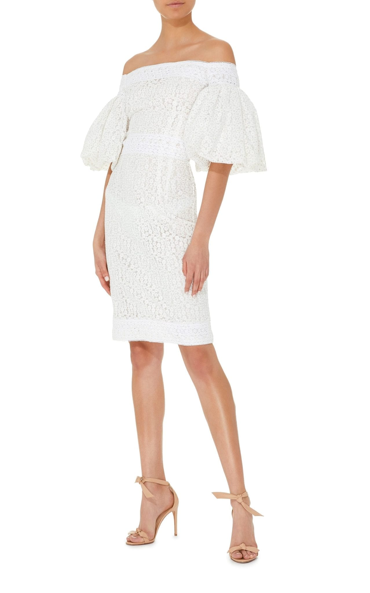 COSTARELLOS Off The Shoulder Sheath White Dress