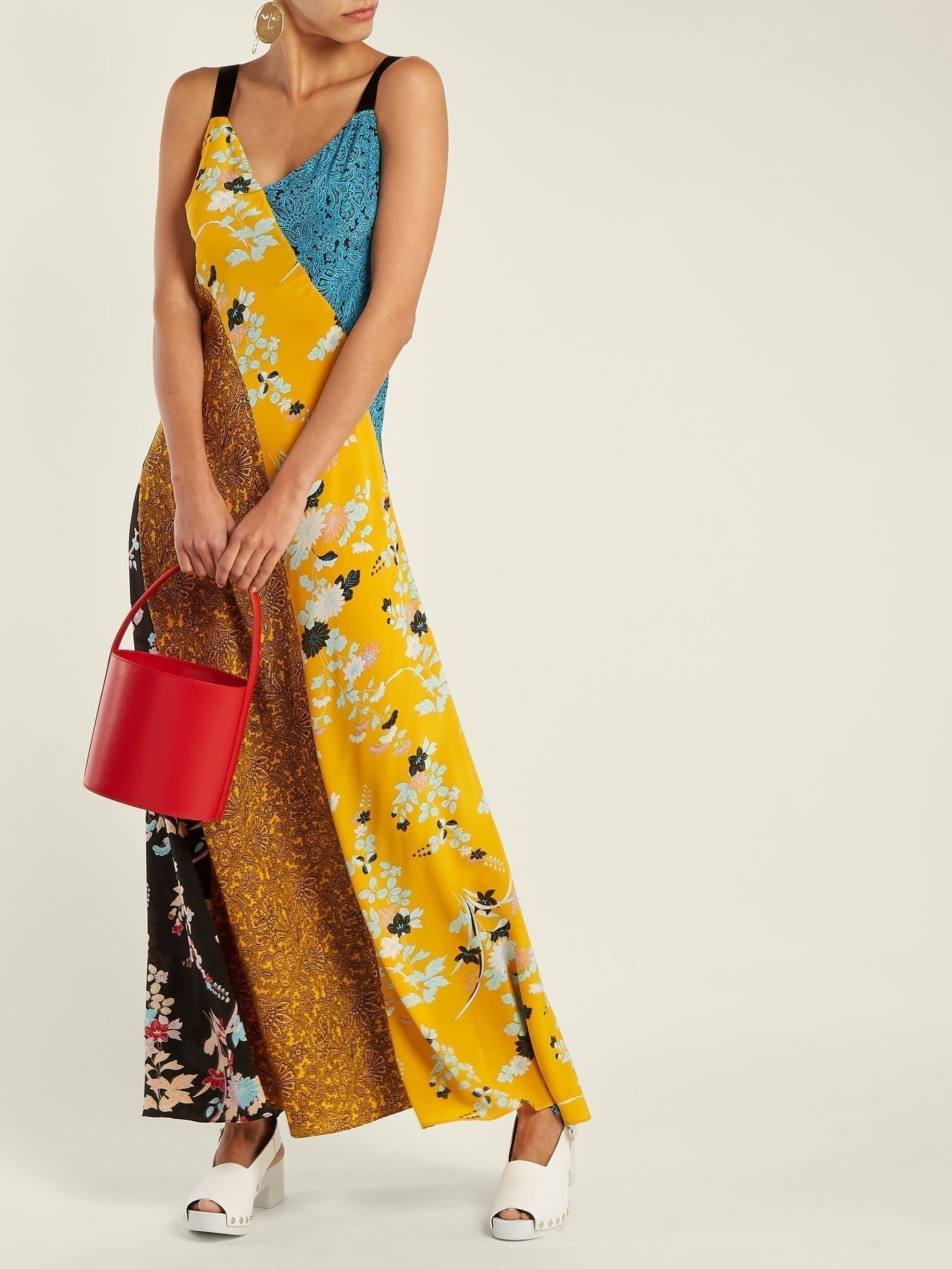 DIANE VON FURSTENBERG Calloway Floral Paisley Print Silk Maxi Sunflower Yellow Dress