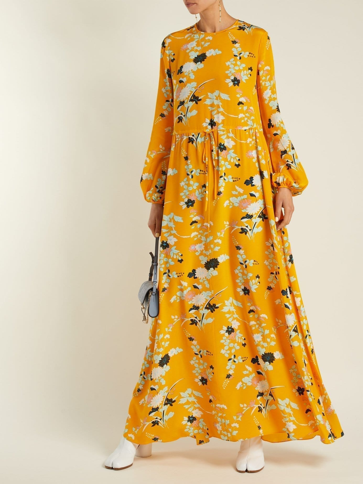 DIANE VON FURSTENBERG Walden Marigold Print Silk Maxi Yellow Dress