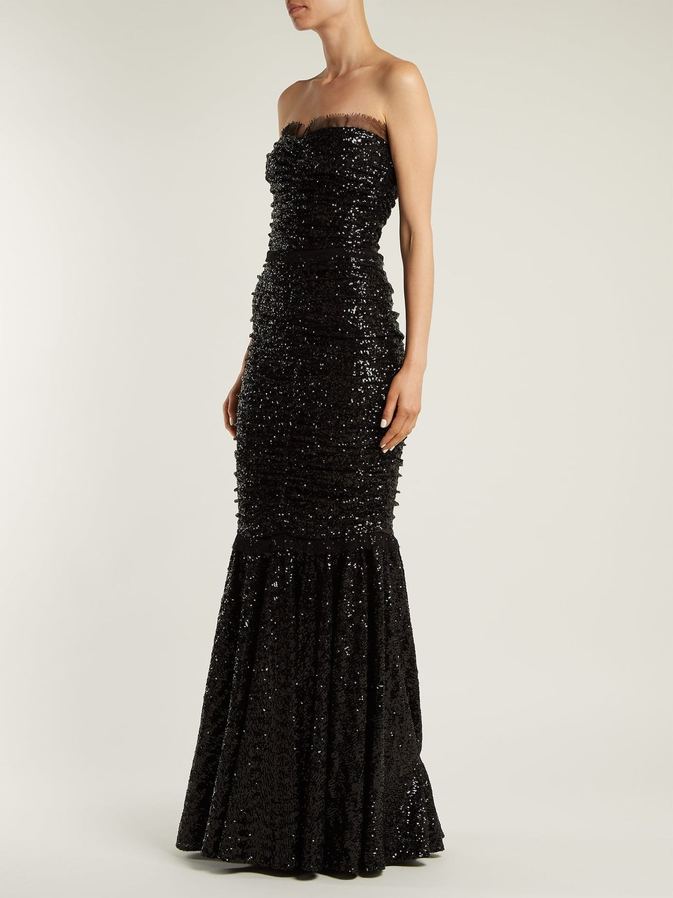 DOLCE & GABBANA Strapless Fishtail Sequin Embellished Black Gown ...