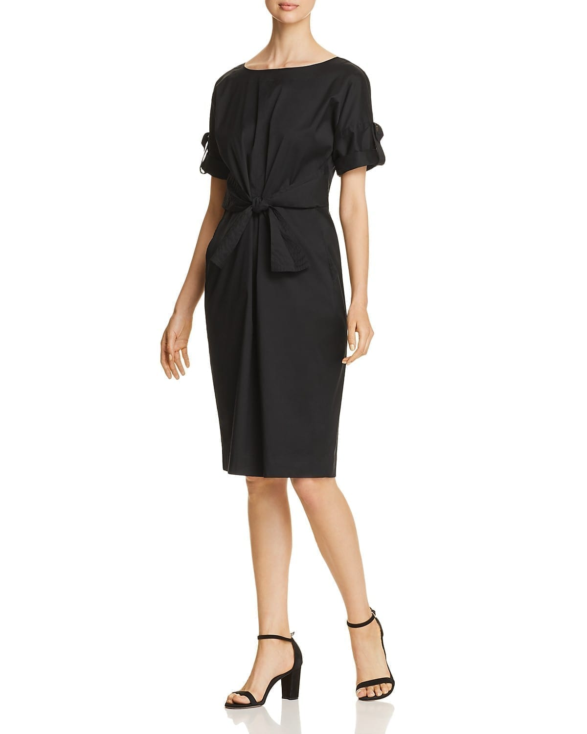 Donna Karan New York Ruched Tie Front Black Dress