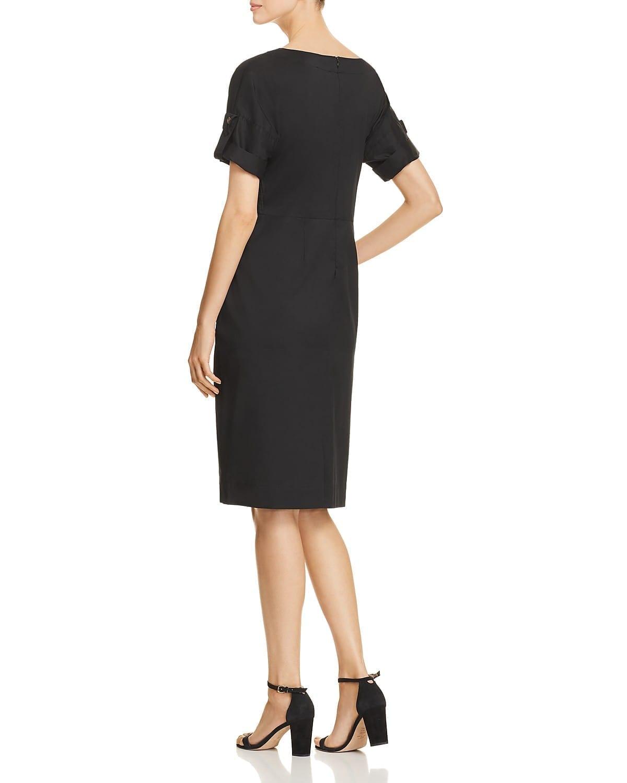 DONNA KARAN NEW YORK Ruched Tie-Front Black Dress