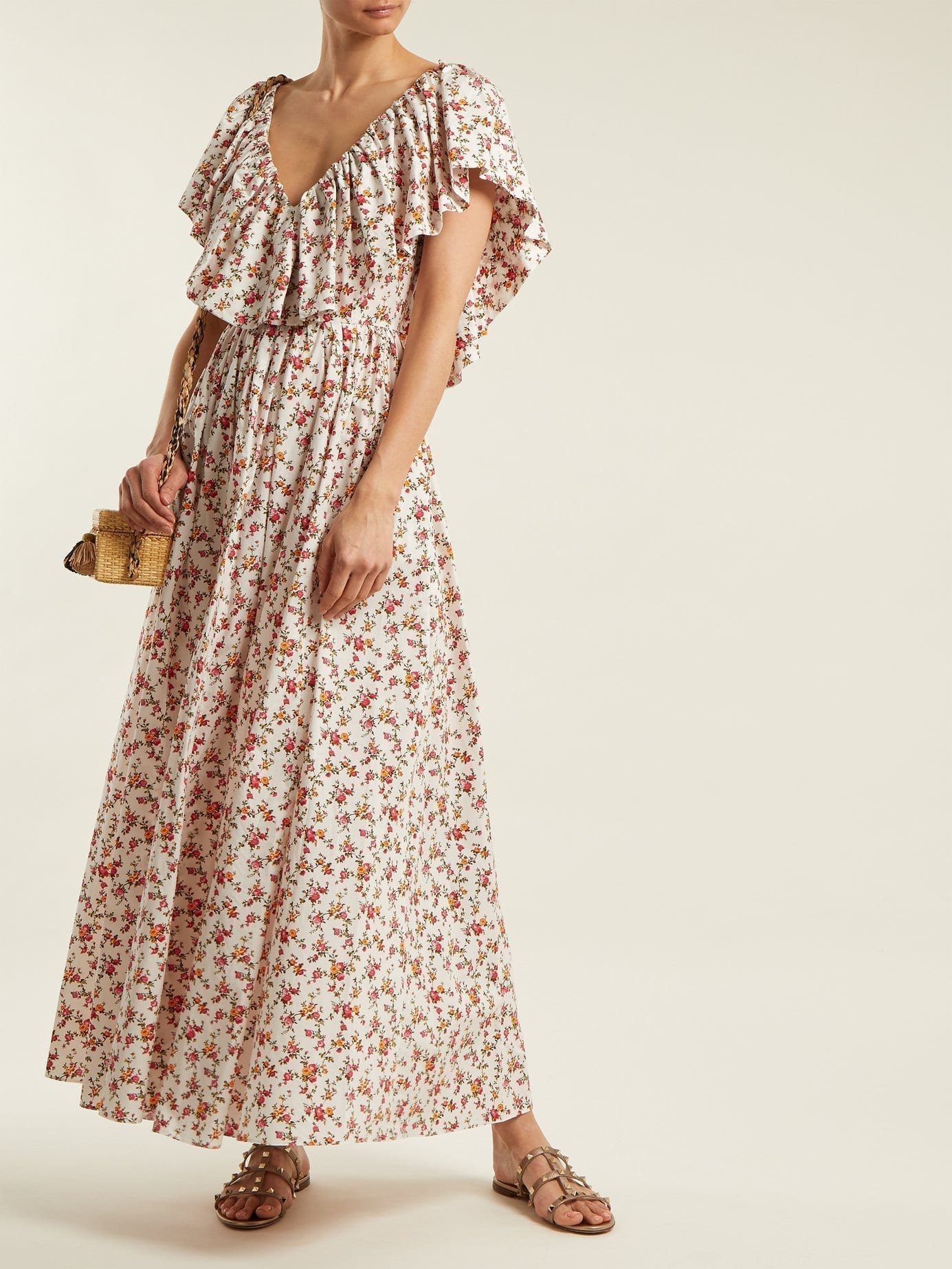 EMILIA WICKSTEAD Jarvis Cotton Maxi Multi / Floral Printed Dress