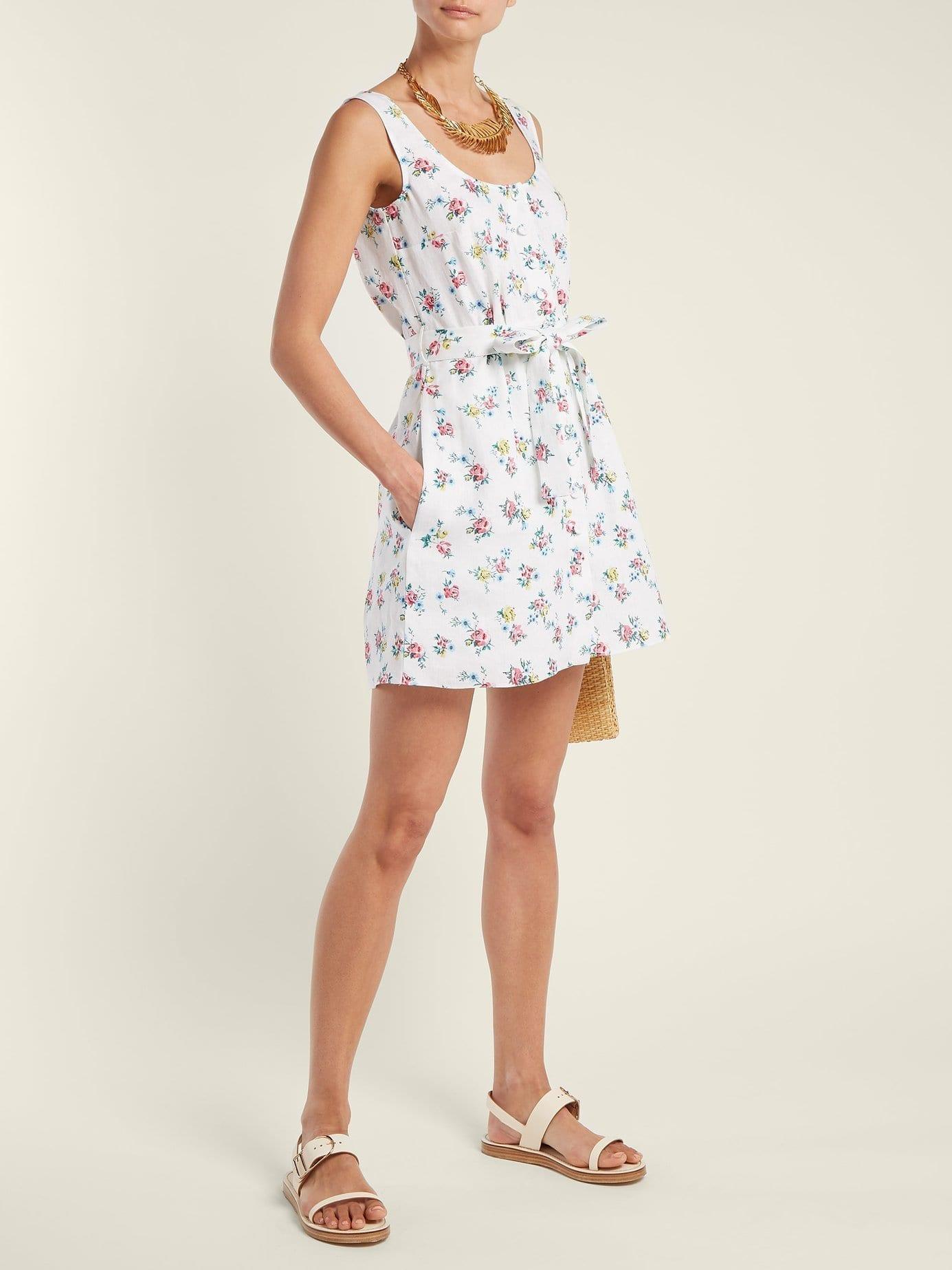EMILIA WICKSTEAD Kirk Linen White / Floral Printed Dress