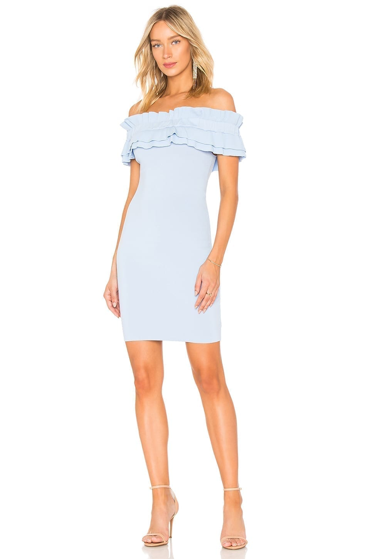 ENDLESS ROSE Off Shoulder Knit Bodycon Powder Blue Dress