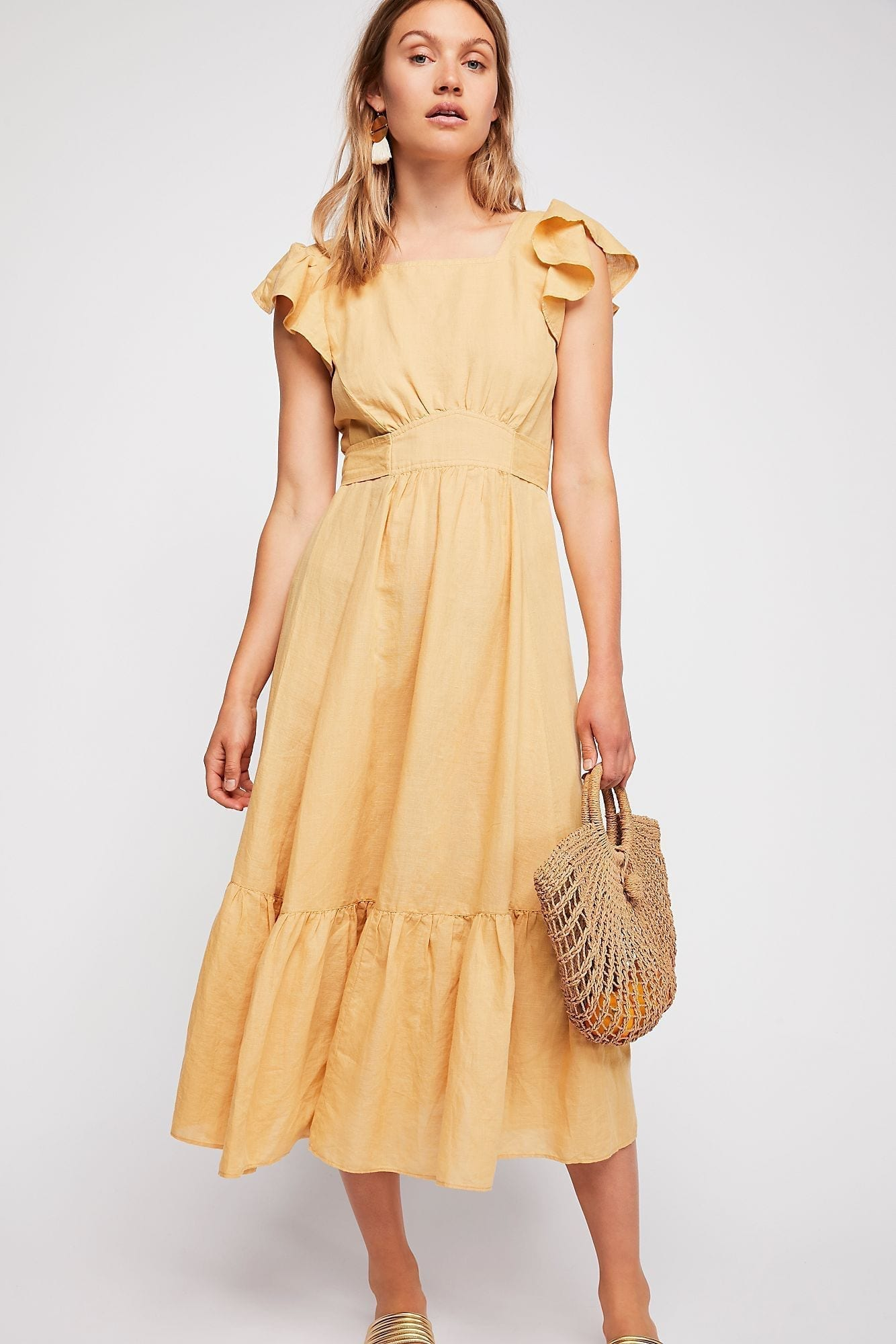 ENDLESS SUMMER Takin' A Chance Midi Yellow Dress