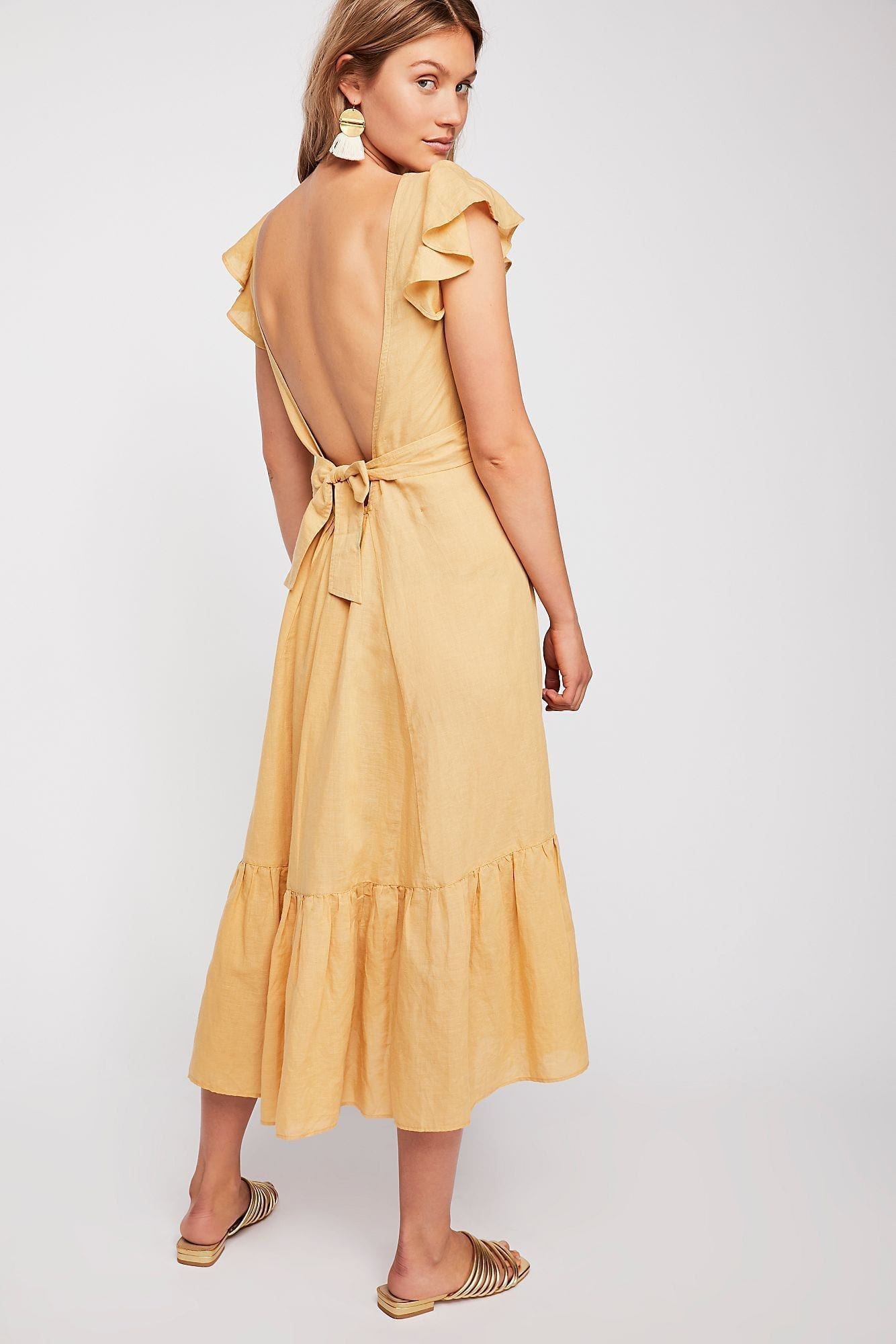 ENDLESS SUMMER Takin' A Chance Midi Yellow Dress