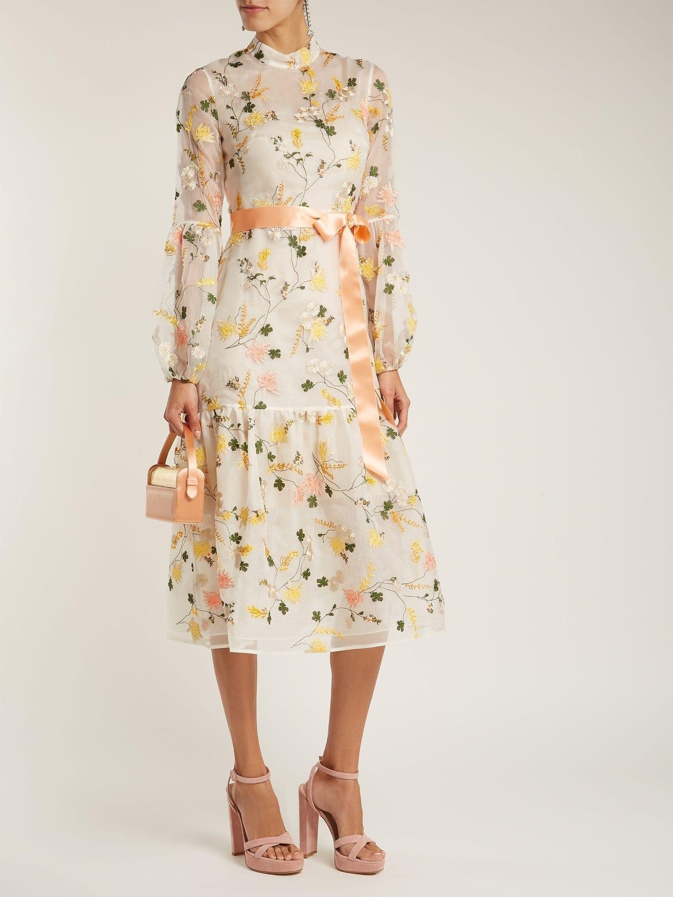 ERDEM Sandra Organza White / Floral Printed Gown