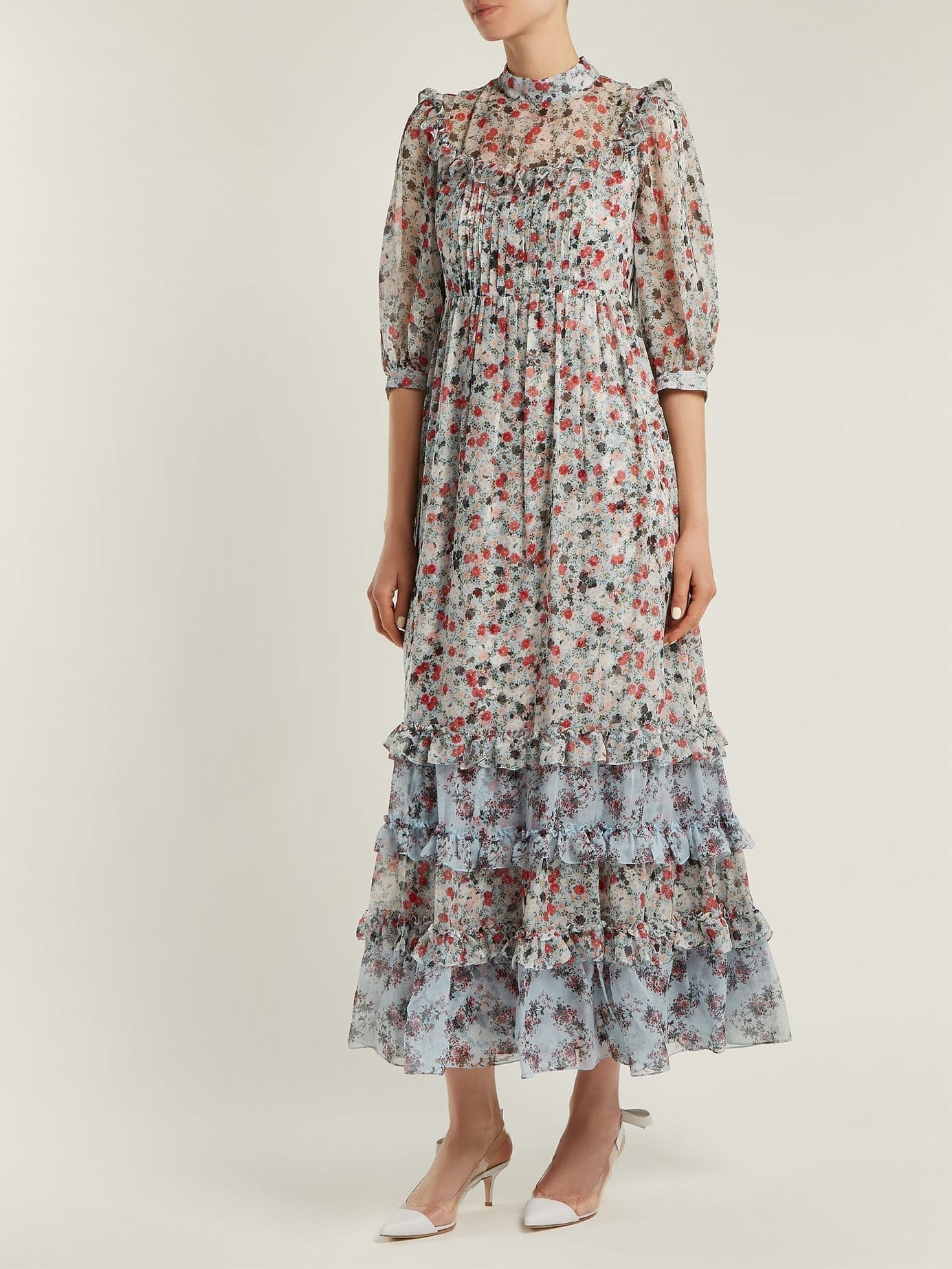 ERDEM Tricia Keiko Disty Print Silk Voile Multicolored Dress