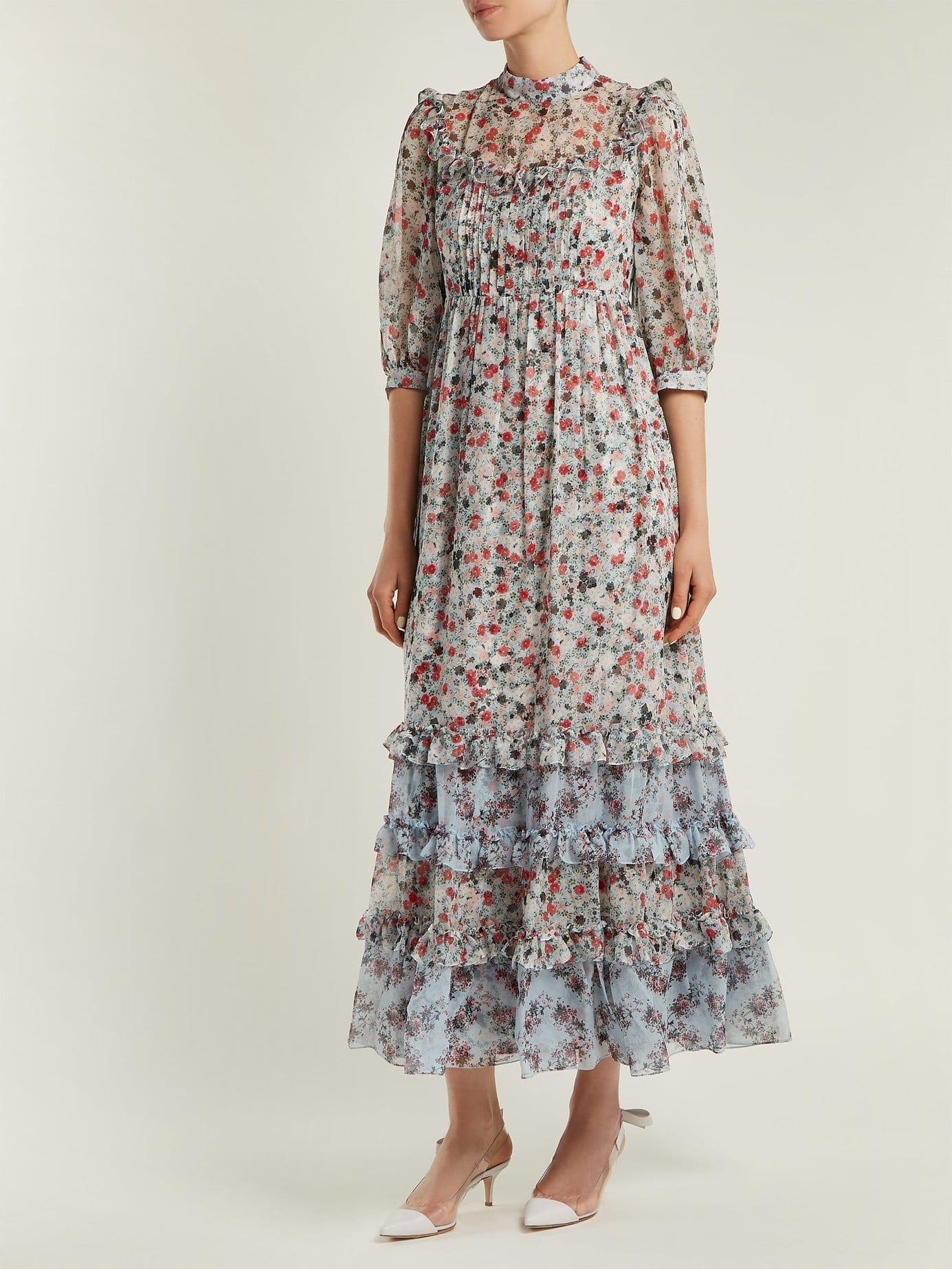 ERDEM Tricia Keiko Disty Print Silk Voile Multicolored Dress