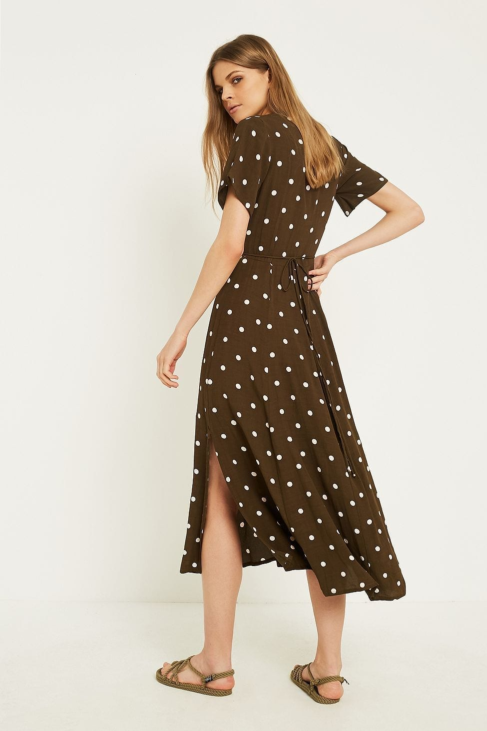 FAITHFULL THE BRAND Leila Wrap Khaki Dress