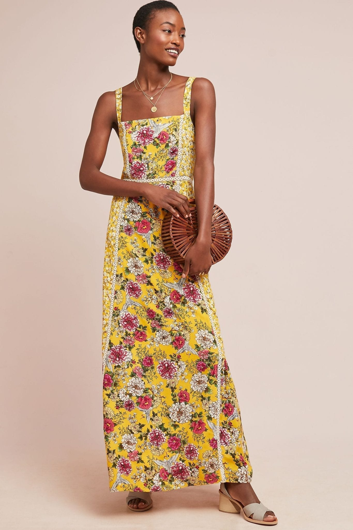 FARM RIO FOR ANTHROPOLOGIE Farm Rio Cantonal Maxi Yellow Dress