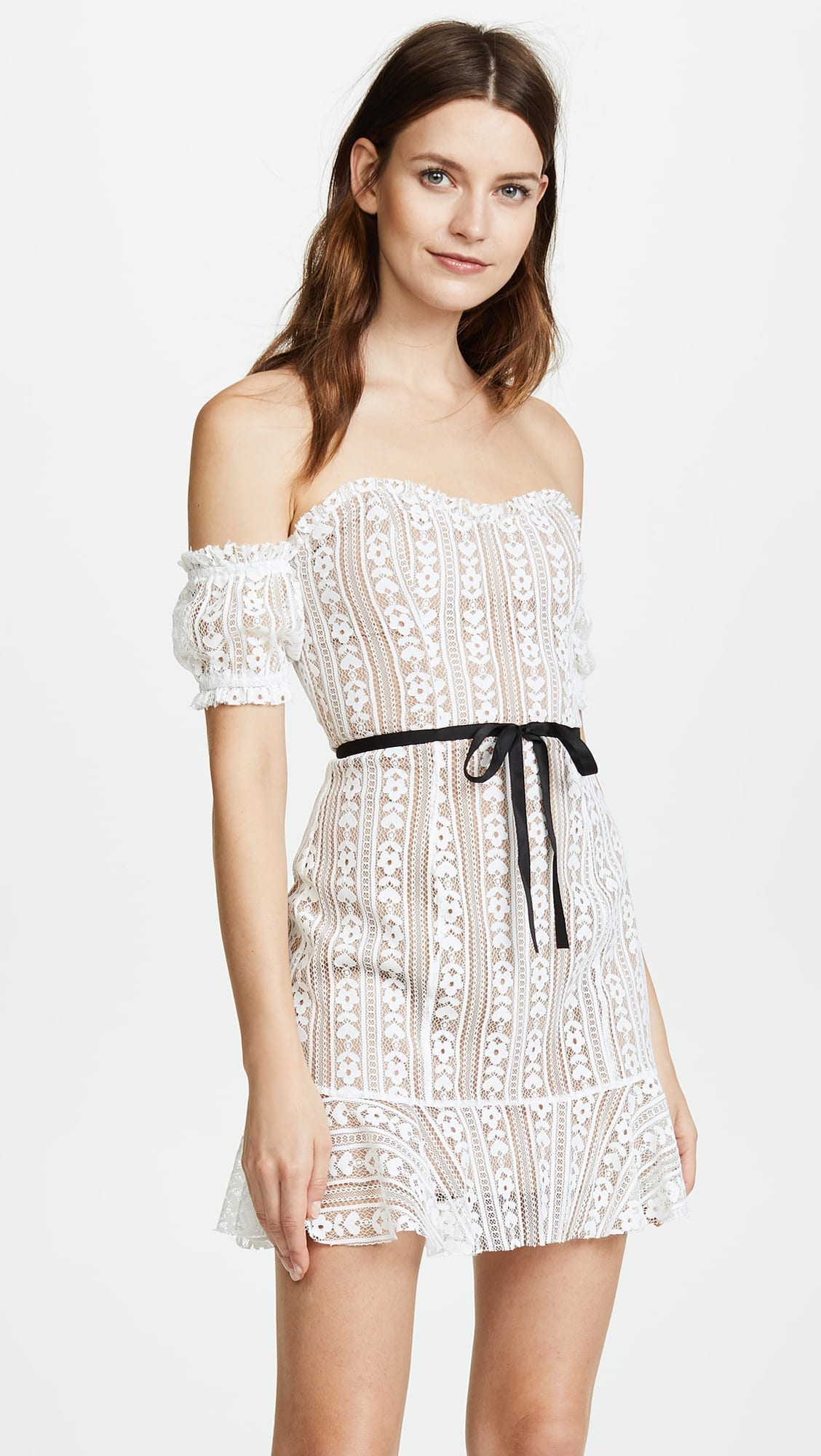 08a2f6e5219d FOR LOVE & LEMONS Dakota Lace Mini White Dress - We Select Dresses