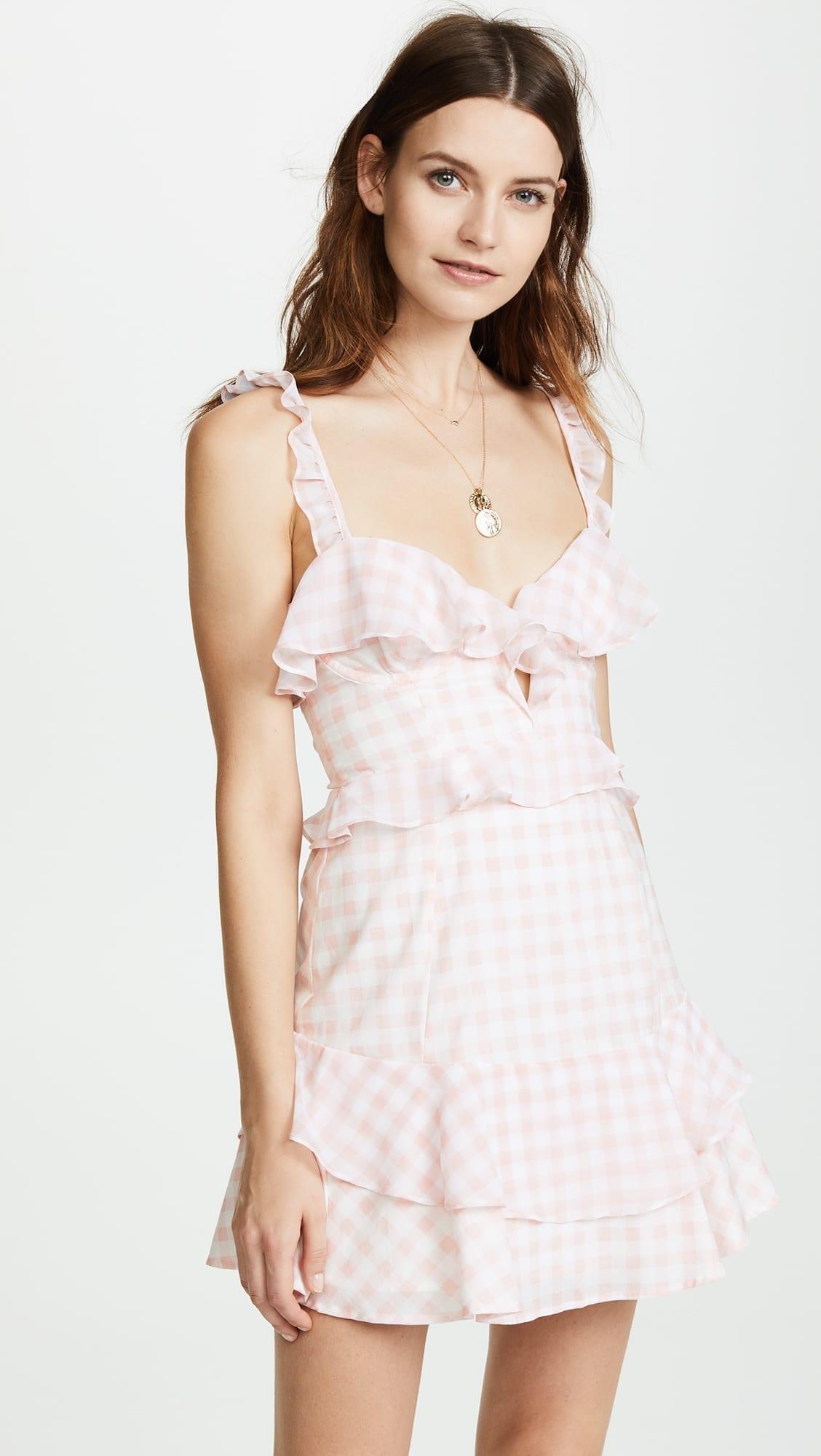 FOR LOVE & LEMONS Dixie Ruffled Mini Pink Gingham Dress