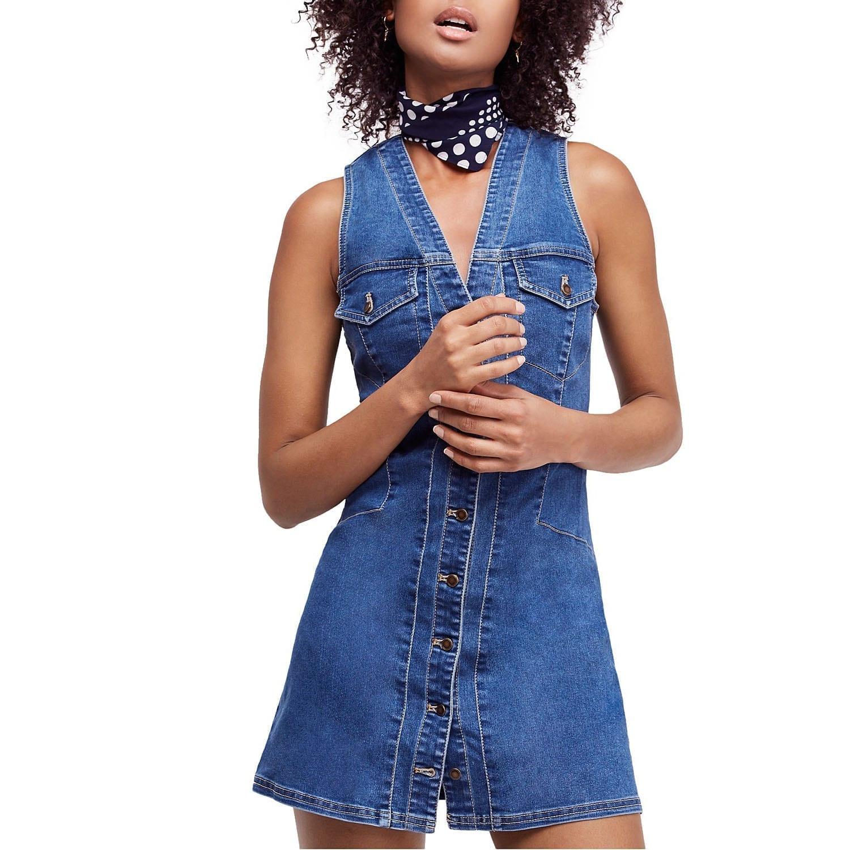 d429151927 FREE PEOPLE Wandering Star Denim Mini Blue Dress - We Select Dresses