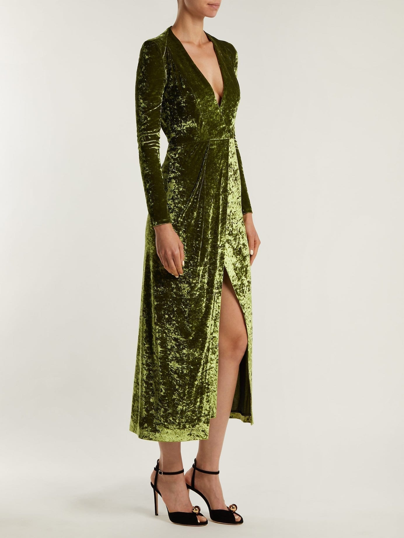 GALVAN Cloud Hammered Velvet Light Green Dress