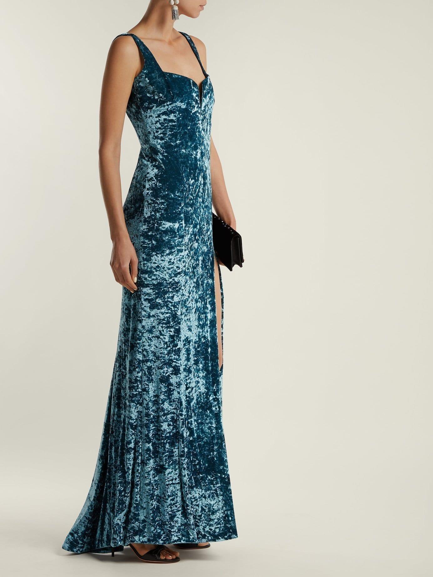 GALVAN Solstice Hammered Velvet Corset Blue Gown