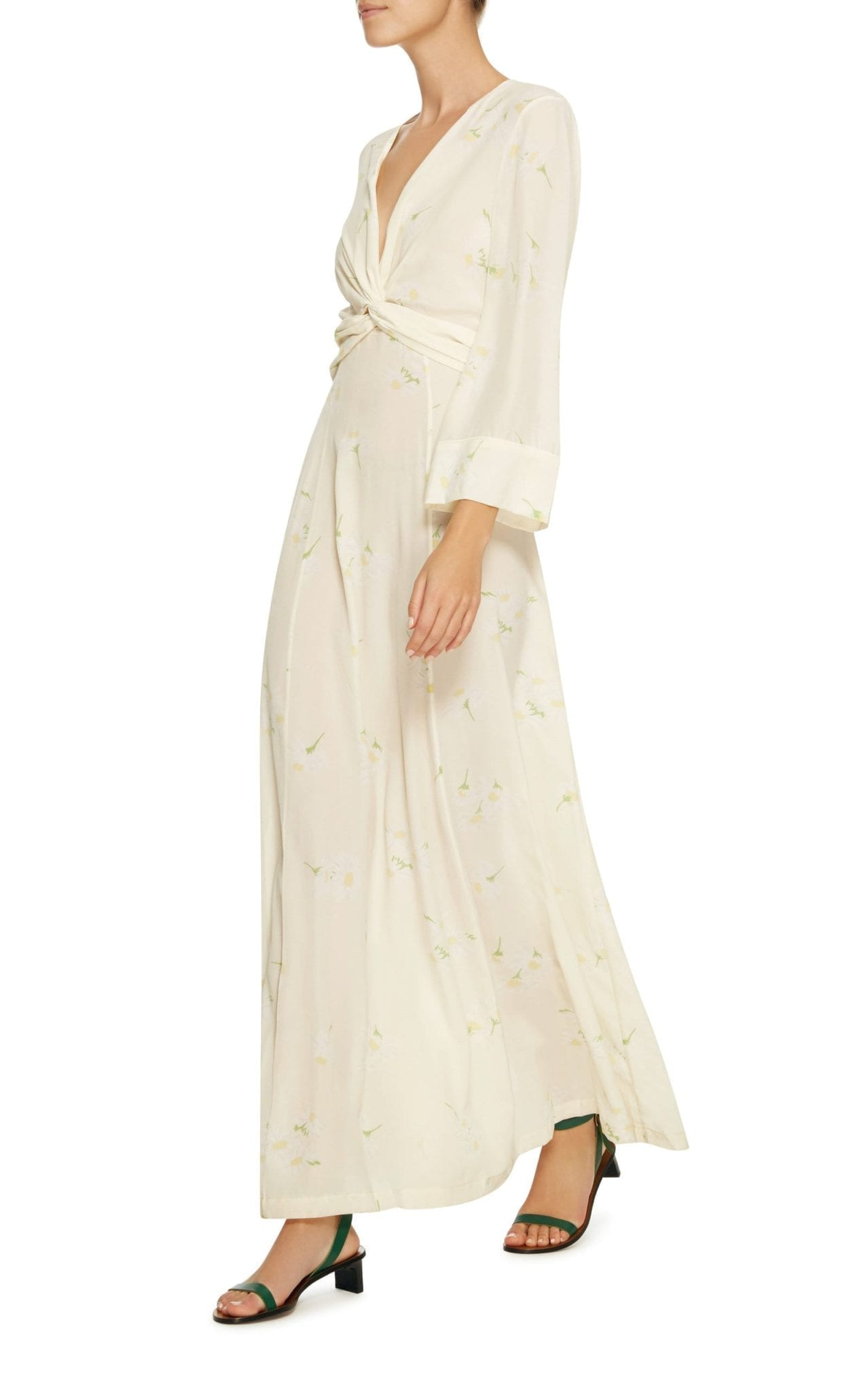 GANNI Nolana Tie Front Floral Silk Maxi White Dress