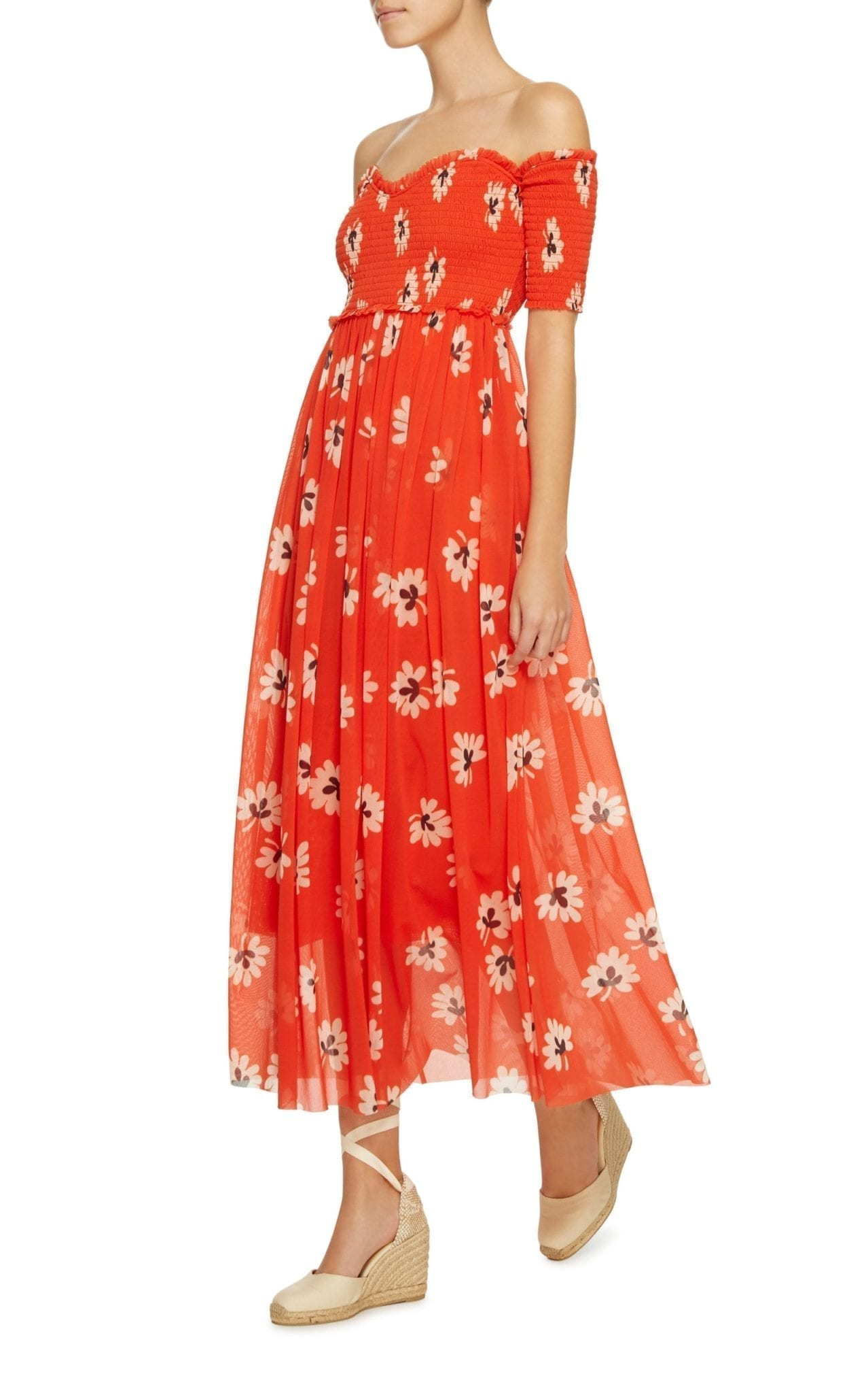 c03c72767b7c GANNI Tilden Off The Shoulder Smocked Midi Red   Floral Printed Dress