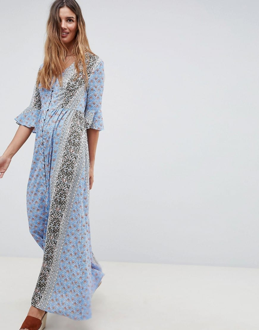 GLAMOROUS Fluted Sleeves In Patchwork Print Maxi Smock Blue Dress