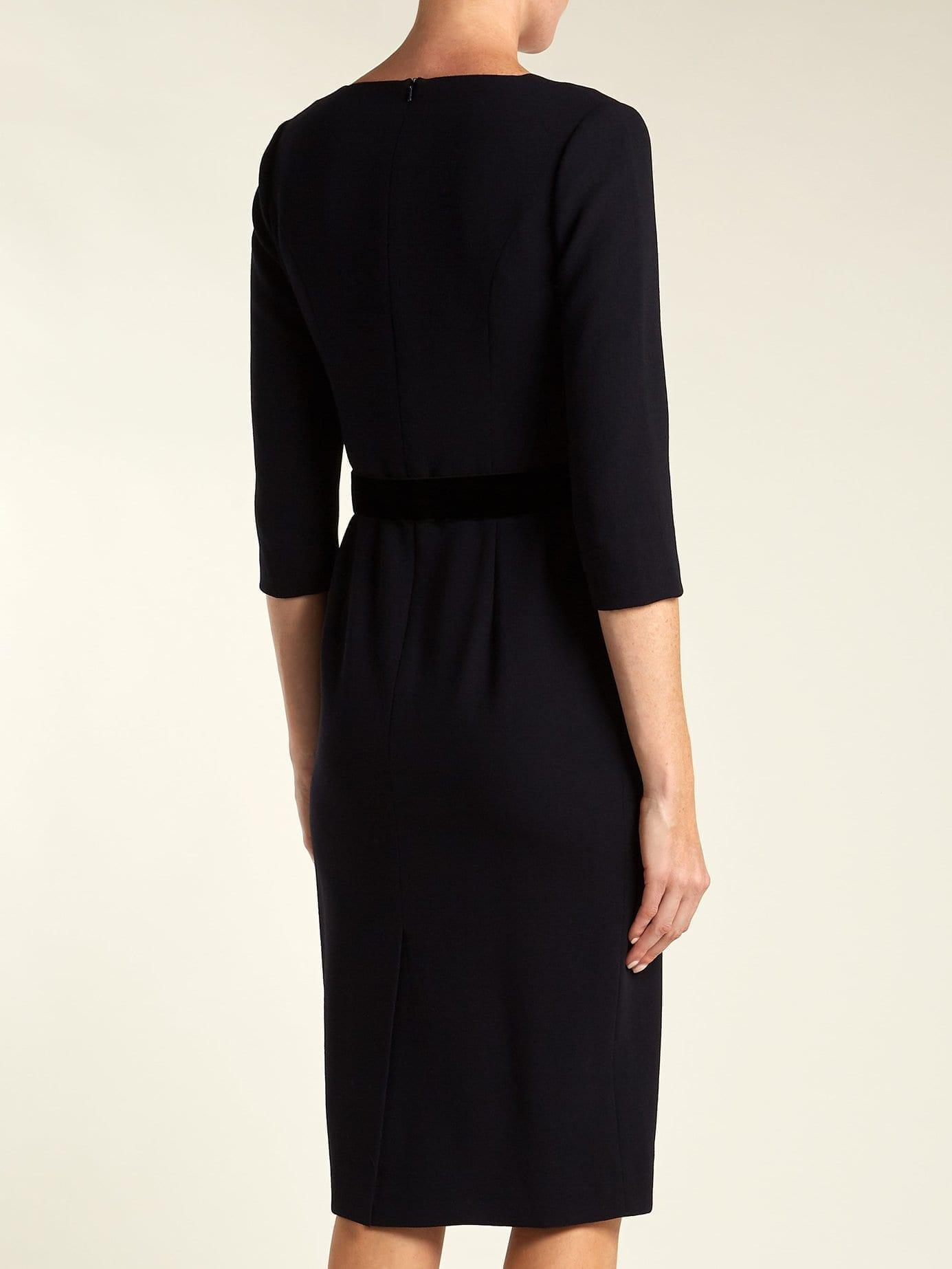 GOAT Gilda Wool Crepe Navy Dress